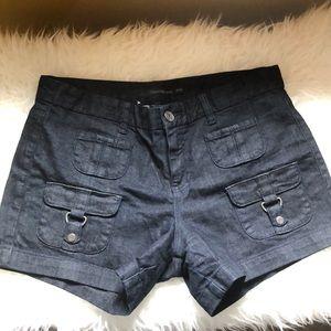 CK dark denim shorts